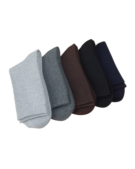 Socks Teams Men's 5-Pack Solid Winter thicken warm terry socks