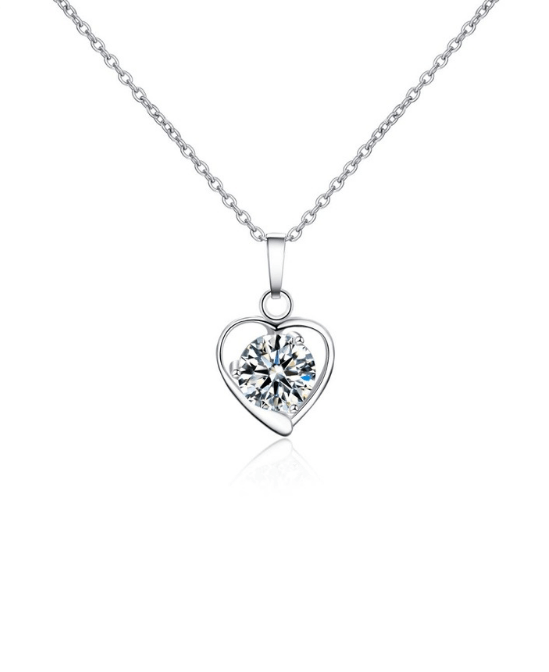 Steffe Stainless Steel Heart Pendant With Cubic Zirconia Necklaces