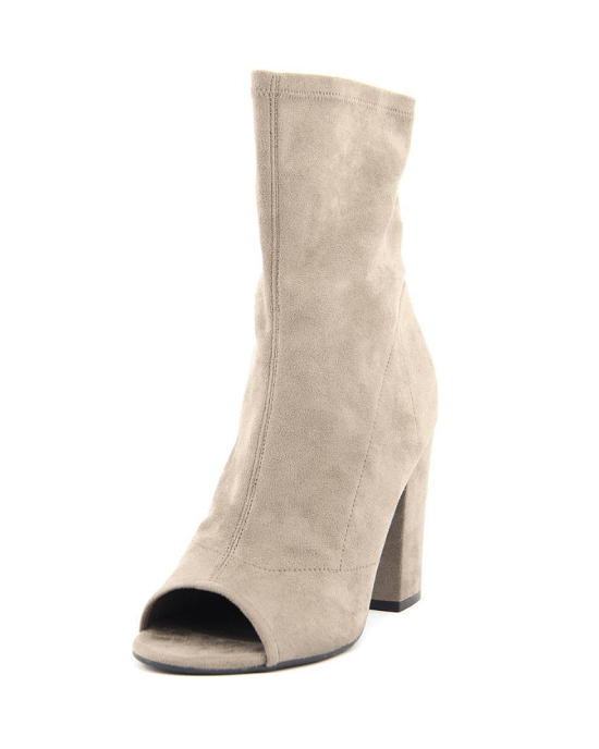 GUESS Galyna Peep Toe Block Heel Tall Ankle Booties,