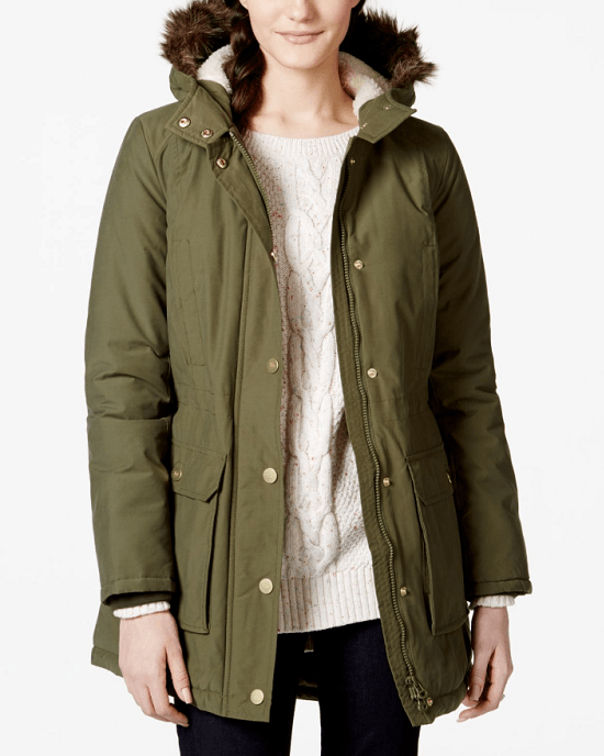 Tommy Hilfiger Women's Green Faux-fur-trim Hooded Coat