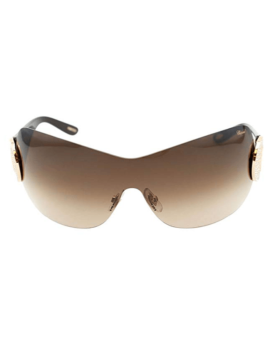 Chopard SCH 939S Women Brown & Gold Crystals Embellished Wrap Shield Sunglasses