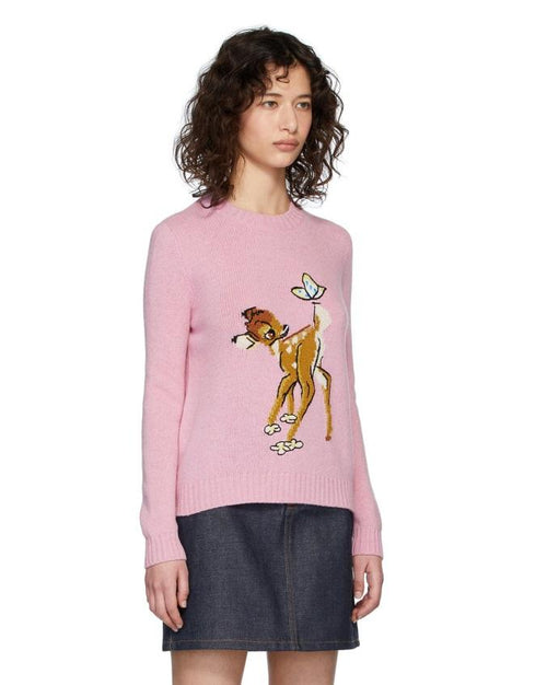 Miu Miu Pink Disney Edition Wool Bambi Sweater