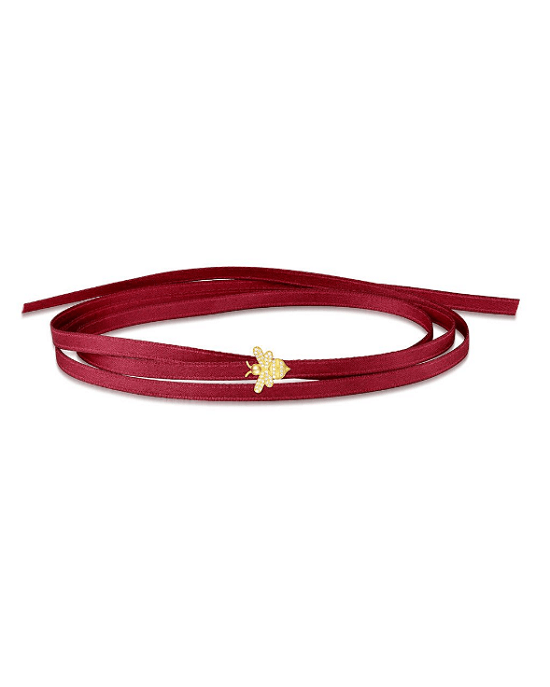 Apm Monaco Red Satin Choker Bracelet With Yellow Silver Bumble Bee