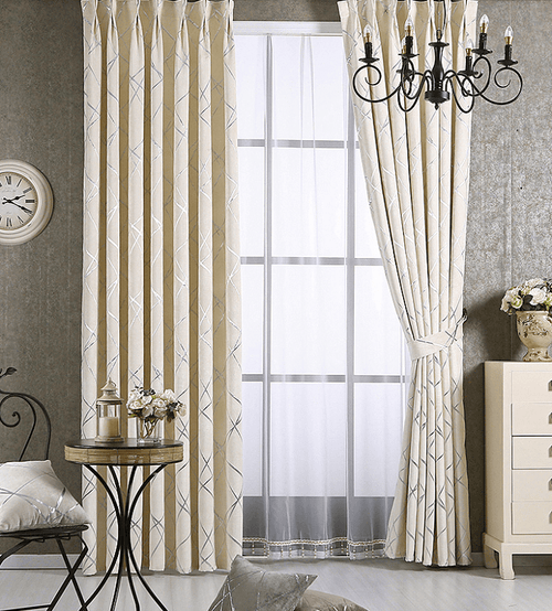 Sifan Geometrice Jacquard Pattern Window Blackout Modern Curtains Panel,