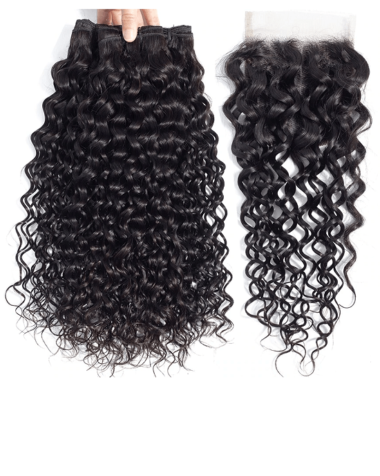 Cranberry Brazilian Hair Water Wave Bundles With 4 Bundles Closure