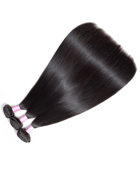 Cranberry Brazilian Straight Hair 3 Bundles With Closure 100% Human Hair Extensions