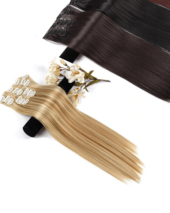 Leeons Long Straight Synthetic Hair Extensions Clips in Black Blonde Hairpiece
