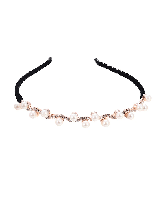 M MISM Women's Elegant Crystal Pearl Hair Bands Headband