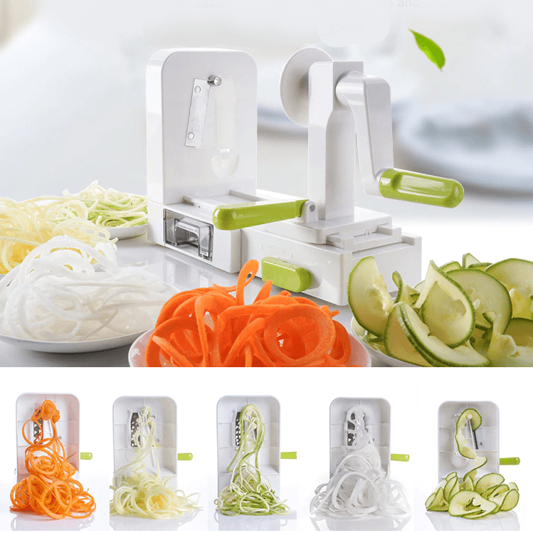 Folding 5 Blade Spaghetti Vegetable Spiral Slicer Carrot Zucchini Noodler Maker