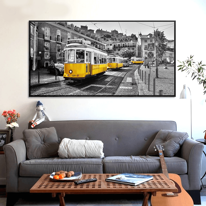 Photography Retro Yellow Bus, Wall Art