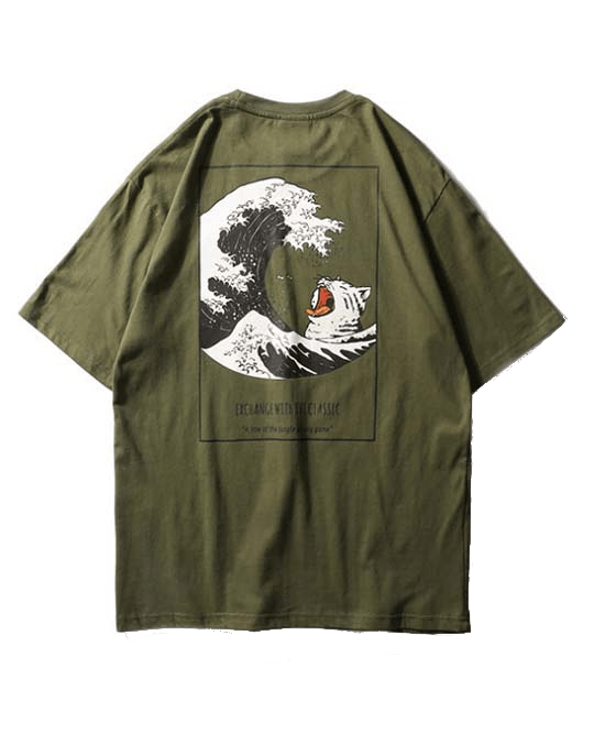 Men Japanese Ukiyo-e Print Tee Shirts