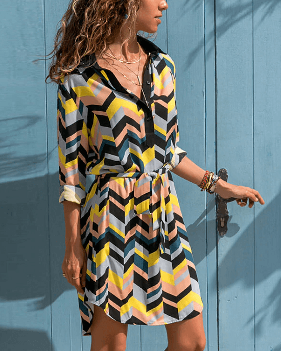 Women's A-Line Geometric Print Long Sleeve Shirt Dress