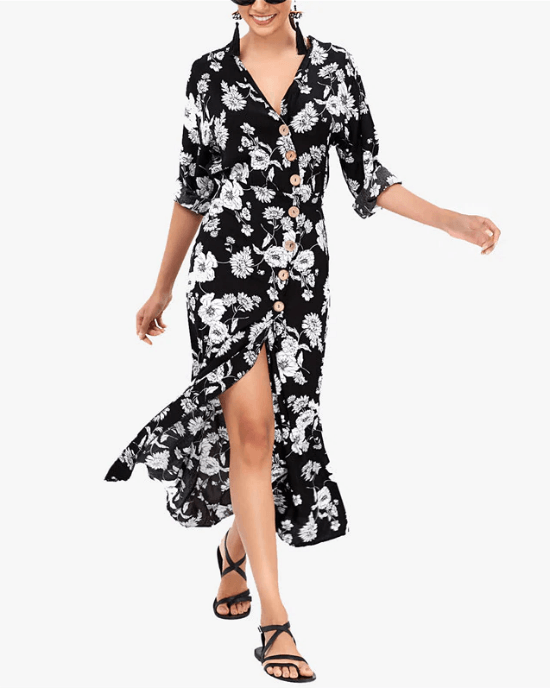 Women's V-Neck Floral Print High/Low Dress