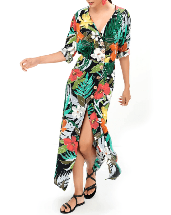 Women's V-Neck Tropical Floral Print Long Boho Beach Dress