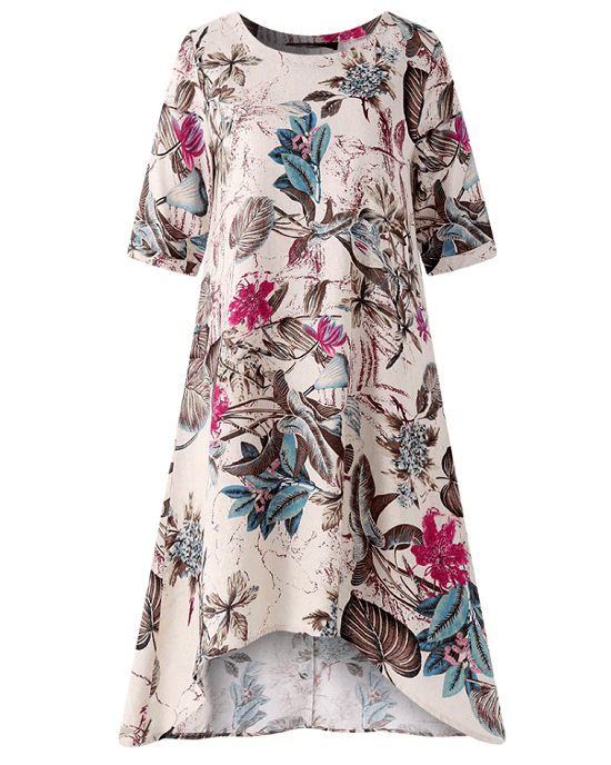 Women's Floral Printed Short Sleeve Loose Linen Dresses