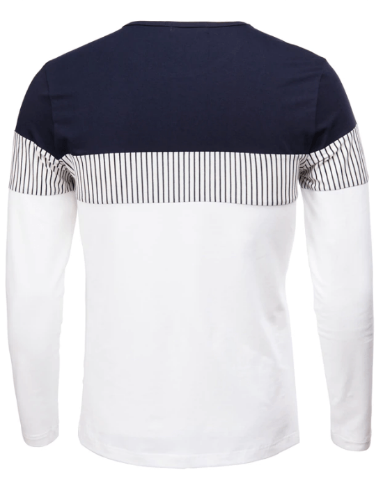 Men's Crewneck Patchwork Cotton Tee Tops