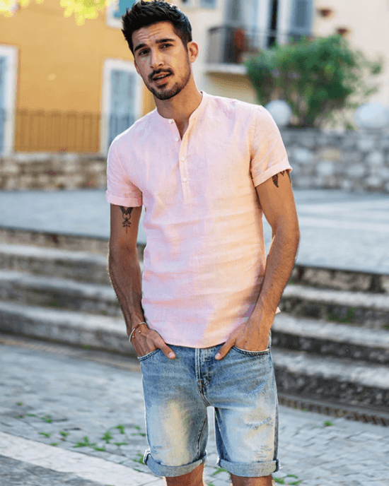 Men's 100% Linen Slim Fit Collarless Tops