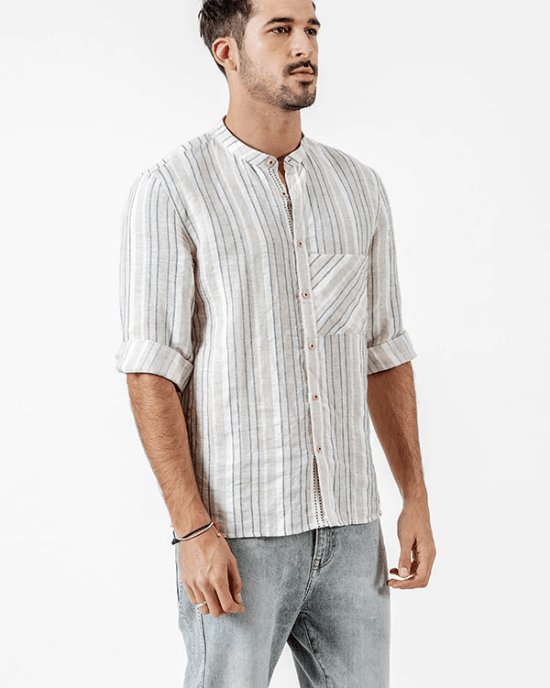 Men's  Linen Cotton Striped Three Quarter Sleeve Shirts