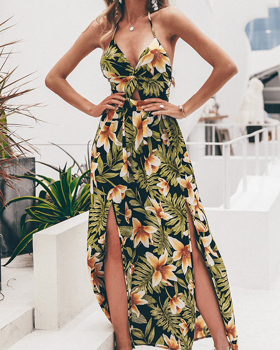 Women's Tropical Floral Print Backless Wrap Dress
