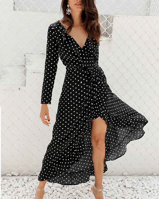 Women's Polka Dot Print Ruffle Wrap Long Dress