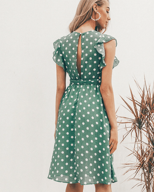 Women's V-Neck Casual Ruffle Midi Polka Dot Green Summer Dress
