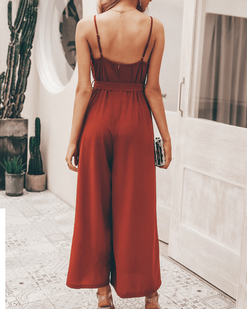 Women's V- Neck Solid Jumpsuits