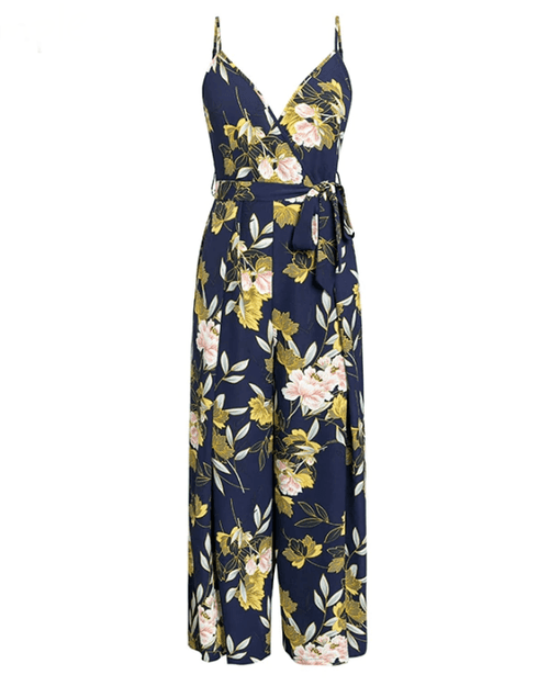 Women's V- Neck Floral Print Jumpsuits