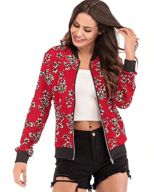 Women's Floral Print Long Sleeve Jacket