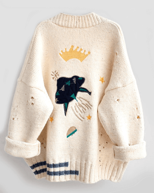 Women's Crown Embroidery Cardigans Poncho Single Breasted Knit Sweater