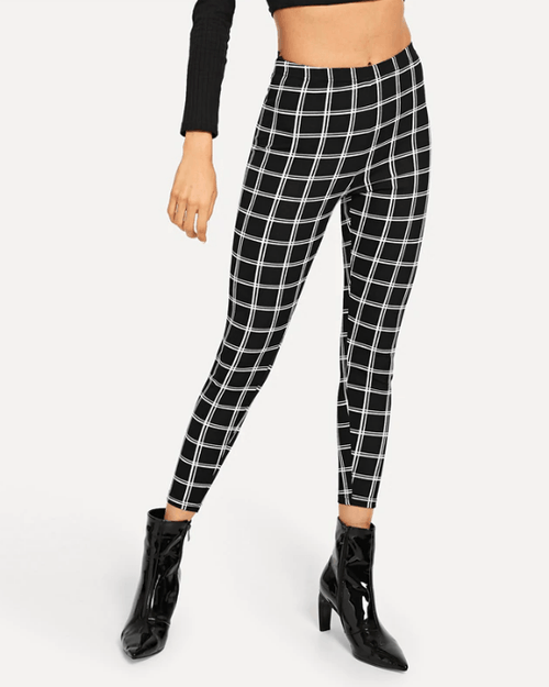 Women's Black Wide Waist Plaid Leggings