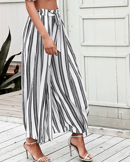 Women's Summer Beach High Waist Split Striped Pant