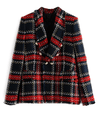 Women's Vintage Double Breasted Frayed Checked Tweed Blazers Coat