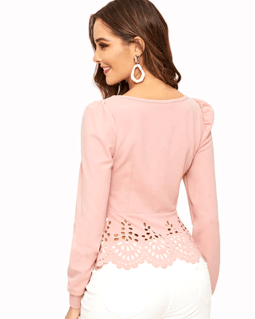 Women's Pink Button up Hollow out Square Hem Puff Sleeve Tops