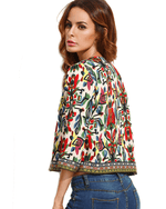 Women's Cropped Bouclé Print Jacket