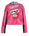 Women's Multi Color Studded Perfectly Shaping Faux Leather Biker Jacket