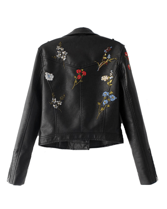 Women's Flowers Embroidery Faux Leather Moto Jacket