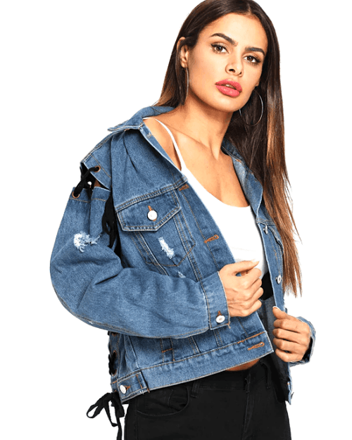 Women's Lace Up Ripped Single Breasted Denim Jacket