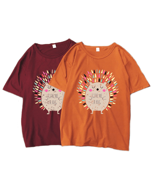 Women's Hedgehog Print Short Sleeve T-Shirt