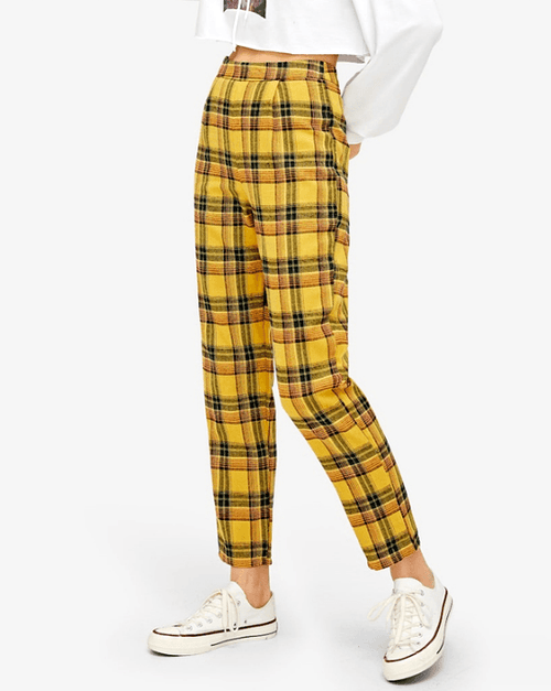Women's Zip Side Mid Waist Zipper Cropped Plaid Pants