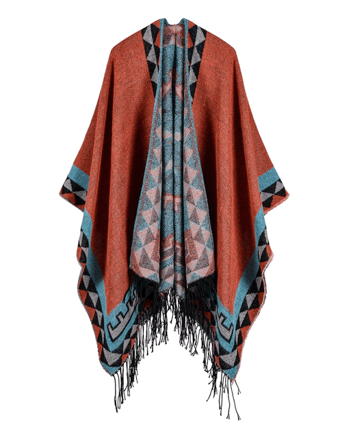 Women's Printed Tassel Open front Poncho Cape Cardigan Wrap