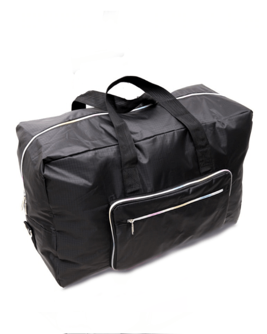 Lighten Up Foldable Weekender Travel Bag In Black and Gray