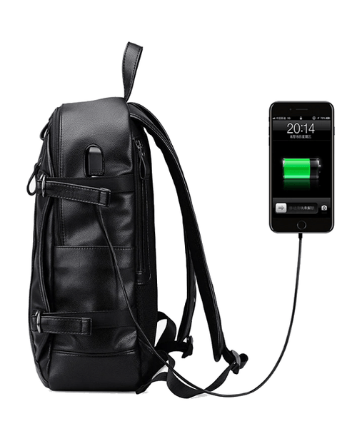 Men's External USB Charge Waterproof Backpack. Black