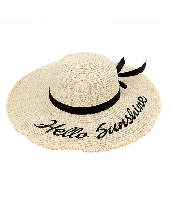 Ster Women's Black Ribbon Lace Up Large Brim Straw Hat