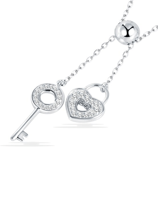 Strollgirl 925 Sterling Silver Sweet Key of Heart Lock Link Chain Necklaces