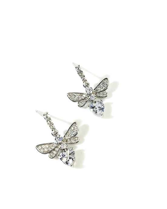 StrollGirl 925 Sterling Silver Cubic Zirconia Bee Stud Earrings