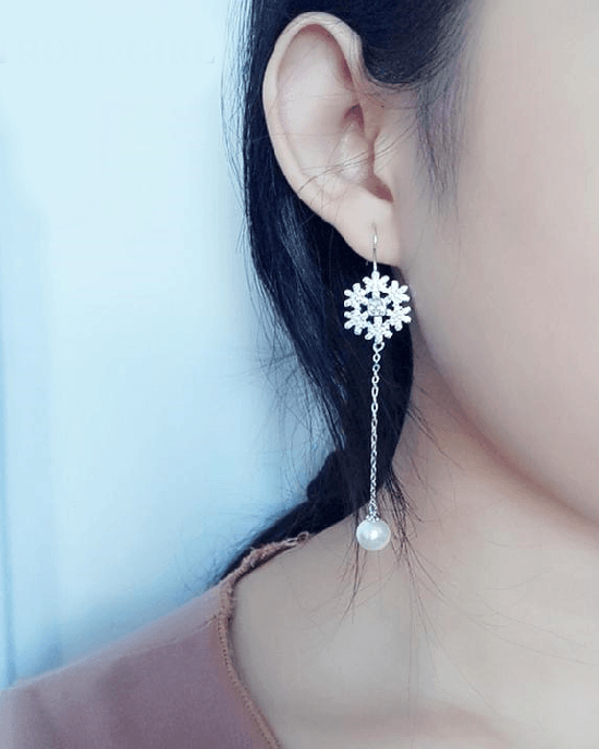 StrollGirl 925 Sterling Silver Long Snowflake Earrings