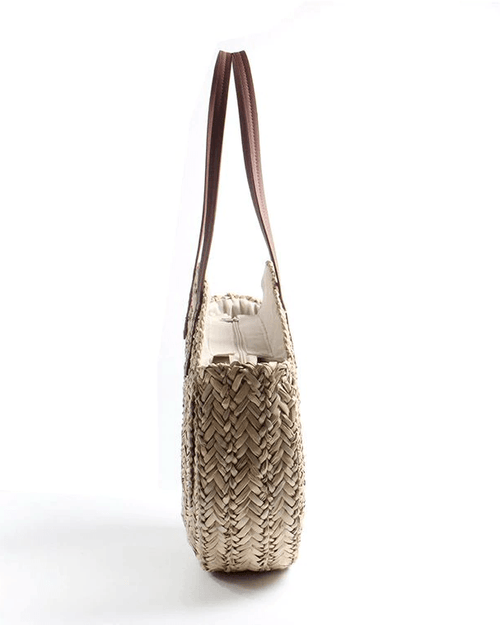 Women's Hand Straw Woven Natural Oval Large Big Tote