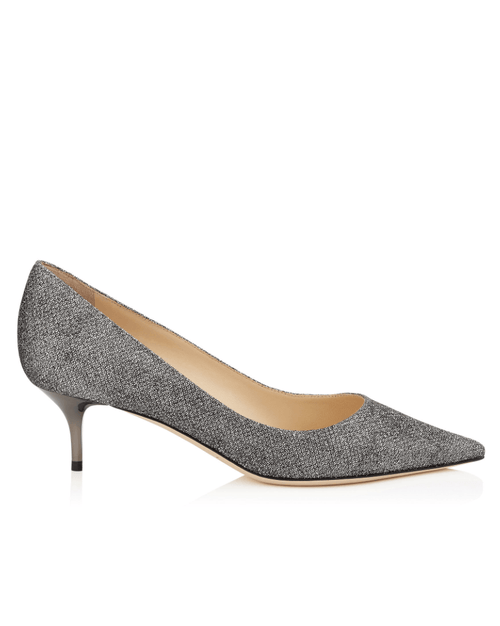 Jimmy Choo ROMY 40 Anthracite Lamé Glitter Pointy Toe Pumps