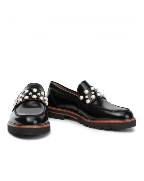 Stuart Weitzman Faux Pearl Embellished Glossed Leather loafers