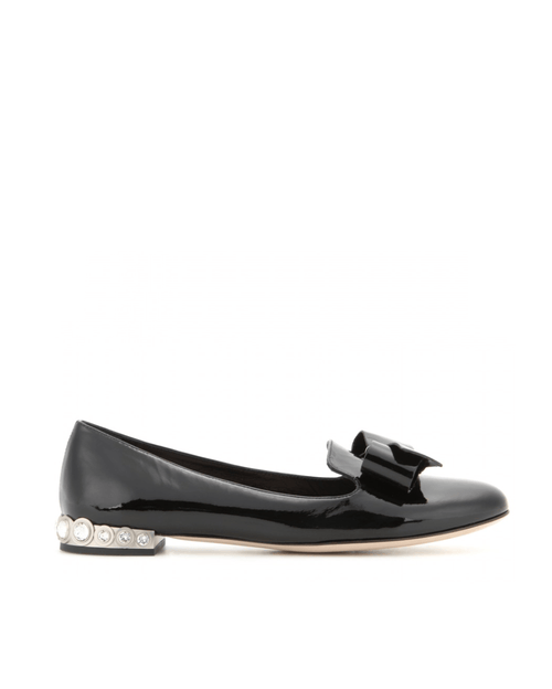 Miu Miu Patent Leather Slippers With Crystal-embellished Heel